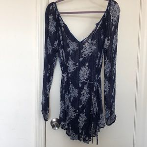 Free People Navy Blue Sheer Floral Tunic Top Small